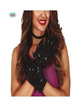 guantes de lentejuelas negros 22 cms