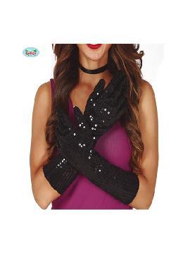 guantes de lentejuelas negros 39 cms