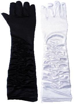 guantes drapeados tela raso 46 cm varios colores