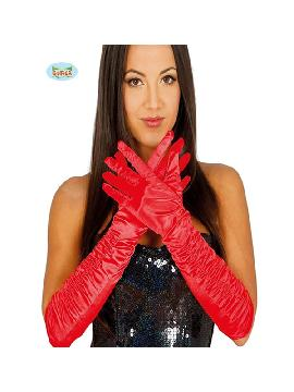 guantes largos arrugado rojo 40 cms
