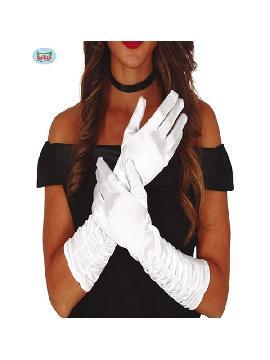 guantes largos arrugados blancos 40 cms