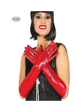 guantes metalizado rojo 45 cms