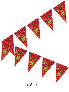 6 guirnaldas triangulos cumpleanos 4 m 20x30 cm