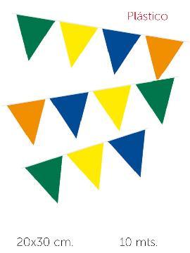 6 guirnaldas triangulos naranja amarilla verde azul 10 m 20x30 cm