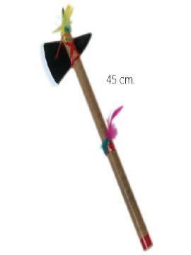 hacha de indio apache con plumas 45cm