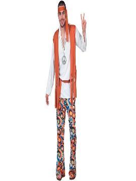 disfraz chico hippie chaleco adulto para hombre. Con este traje volverás a aquellos maravillosos años en los que primaba el lema paz y amor..Este disfraz es ideal para tus fiestas temáticas de disfraces hippies Años 60,70 y 80 para hombre adultos.
