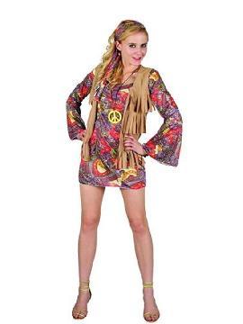 disfraz de hippie con chaleco de mujer