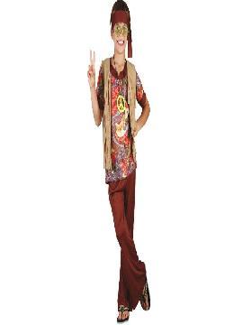disfraz hippie chaleco de niños infantiles. Con este traje volverás a aquellos maravillosos años en los que primaba el lema paz y amor.Este disfraz es ideal para tus fiestas temáticas de disfraces de hippies y años 60,70 y 80 niños infantiles.