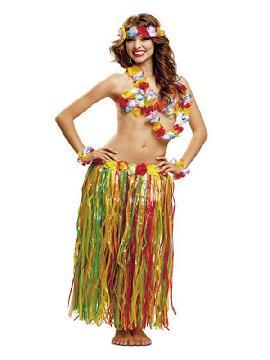 kit hawaiana deluxe corona collar pulseras sujetador y falda