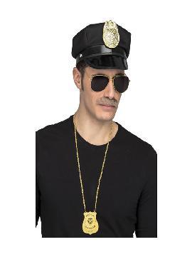 kit policia gorra gafas bigote y placa