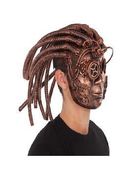 mascara completa steampunk cobre con pelo