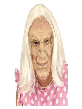 mascara de anciana con peluca gris adulto