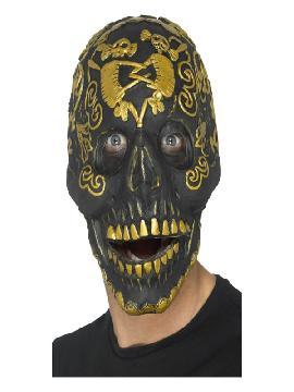 mascara de calavera negra y dorada de latex adulto
