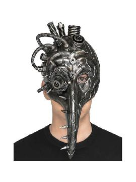 mascara de doctor peste steampunk plateada