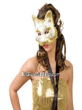 mascara de gata o gatita dorada