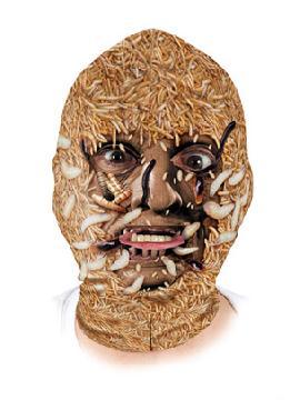 mascara de lycra con gusanos