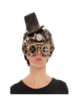 mascara de steampunk con mini sombrero