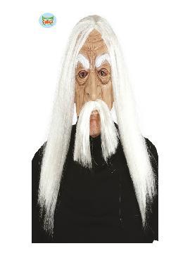 mascara de viejo de pvc con pelo adulto