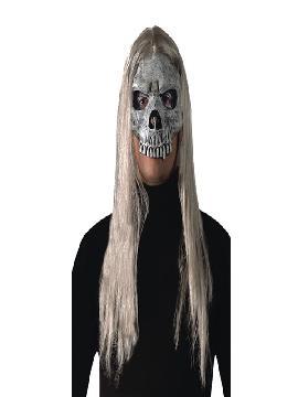 mascara media cara calavera con pelo
