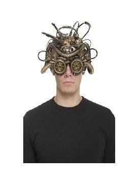 mascara steampunk cableada dorada