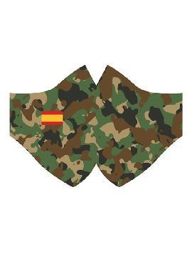 mascarilla de militar con bandera españa