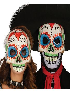 media careta de esqueleto catrina de papel mache