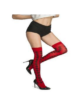 medias arlequin rojo y negro