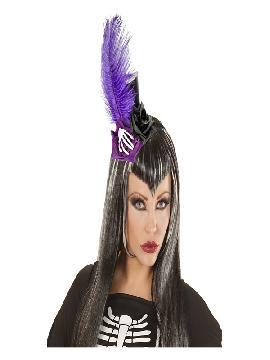 mini sombrero gotico con plumas y huesos