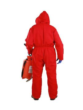 disfraz mono rojo con capucha adulto