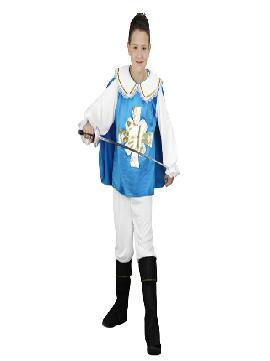 disfraz de mosquetero azul infantiles. Podrás convertirte en un fiel componente de la guardia real, tu único fin será defender al espadachin.Este disfraz es ideal para tus fiestas temáticas de disfraces de mosqueteros para  niños.