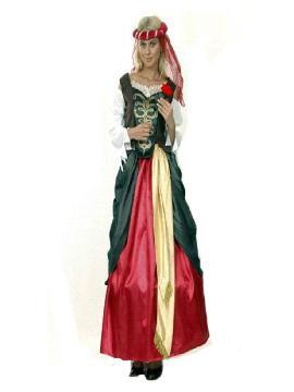 disfraz de dama renacimiento mujer. Con este elegante traje serás la reina de toda fiesta.Este disfraz es ideal para tus fiestas temáticas de disfraces epoca y medievales para la edad media de mujer adultos.