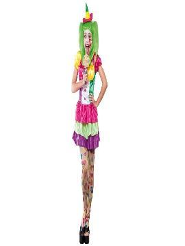 disfraz payasa colores para mujer