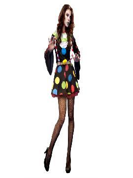 disfraz de payasa diabolica para mujer. Con este colorido traje original y diverdito en tus fiestas de disfraces o carnaval o despedidas de soltera.Este disfraz es ideal para tus fiestas temáticas de disfraces de miedo y payasos para mujer adultos