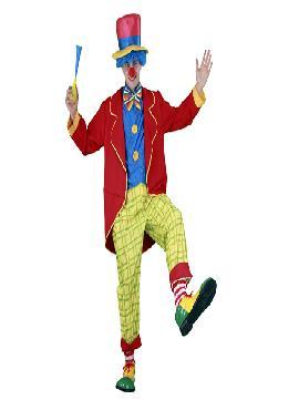 disfraz de payaso con frac adulto para hombre. Conviértete en un auténtico clown de circo con este amplio disfraz en tus fiestas temáticas.Este disfraz es ideal para tus fiestas temáticas de disfraces de payasos del circo,bufones y arlequines para hombre adultos.