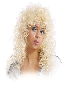 peluca abba rubia con rizos ondulados