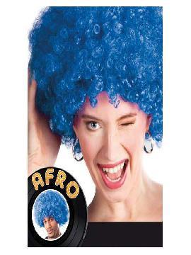 peluca afro gigante azul