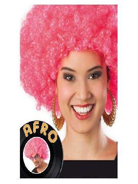 peluca afro gigante rosa