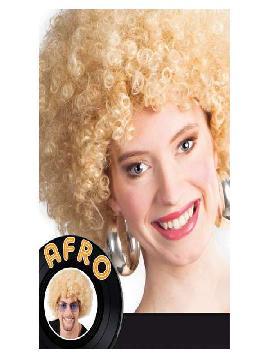 peluca afro gigante rubia