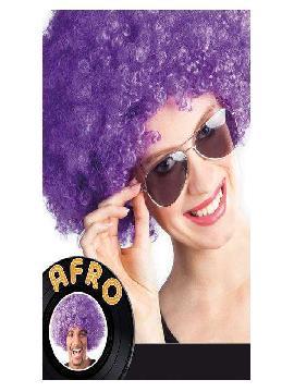 peluca afro gigante violeta
