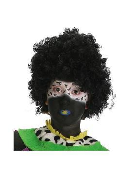 peluca afro negra adulto barata