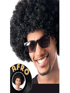 peluca afro negra gigante