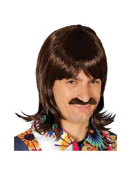 peluca años 60 castaña con bigote