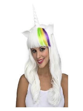 peluca blanca de unicornio con cuerno y orejas