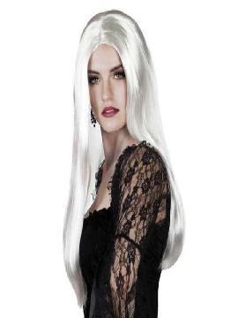 peluca bruja larga blanco