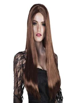 peluca bruja larga marron