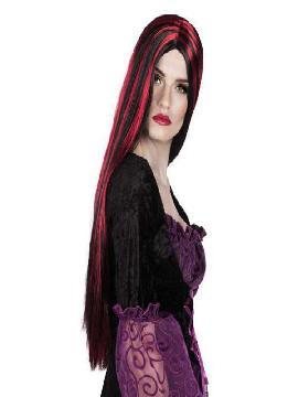 peluca bruja larga negra con mechas rojas