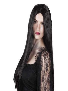 peluca bruja larga negro