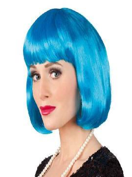 peluca de cabaret azul