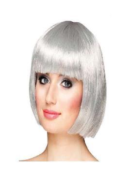 peluca cabaret corta con flequillo plata