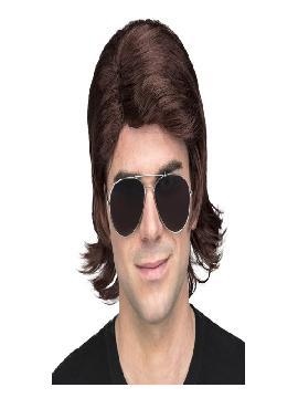 peluca castaña corta hombre
